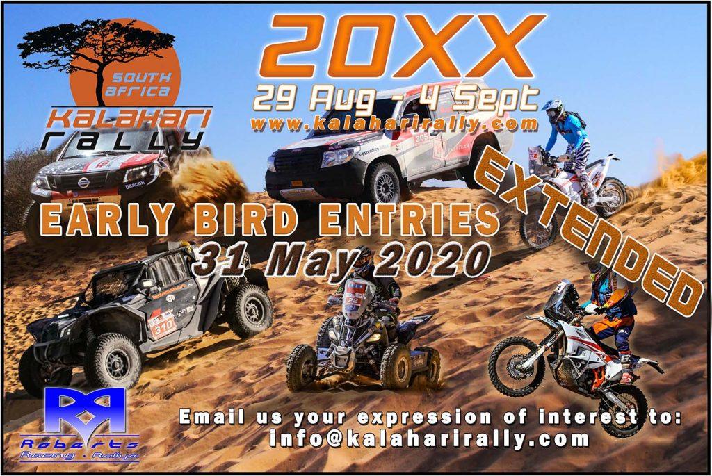 Kalahari Rally verlengt periode 'early bird' inschrijving