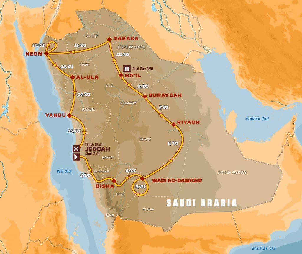 Dakar 2021: de route